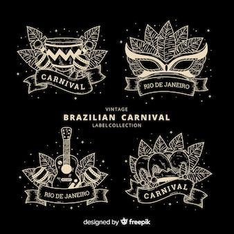 Set de etiquetas retro del carnaval de brasil