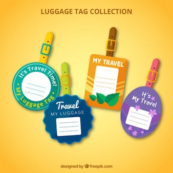 Set de etiquetas de viaje redondas