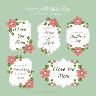 Set de etiquetas vintage del día de la madre