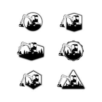 Set excavator vector