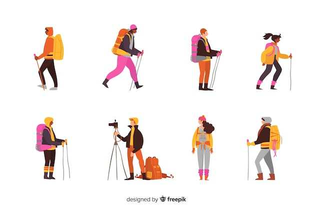 Set de exploradores con mochila