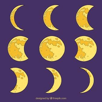 Set de fases de luna dibujadas a mano