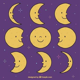 Set de fases de simpática luna