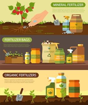 Set de fertilizantes orgánicos de fertilizante mineral en bolsas.