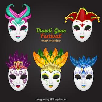 Set de festival de máscaras de mardi gras