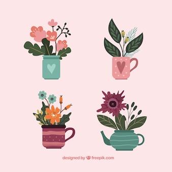 Set de flores en estilo hecho a mano