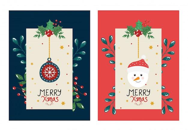 Set flyer de feliz navidad con bola y muñeco de nieve