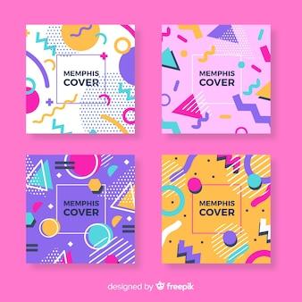 Set folletos coloridos estilo memphis