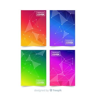 Set folletos coloridos tecnología