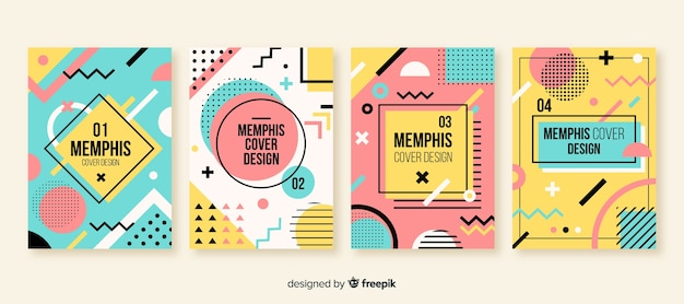 Set folletos estilo memphis