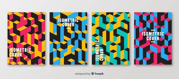 Set folletos estilo poligonal isométrico