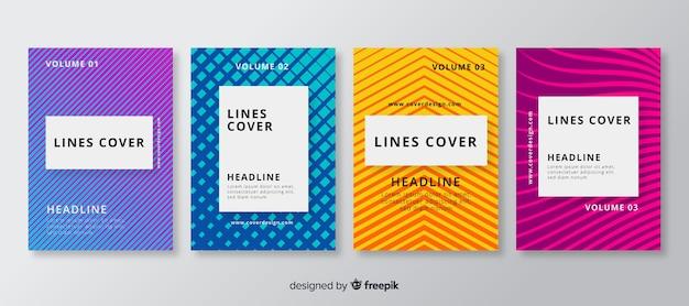 Set folletos líneas geométricas