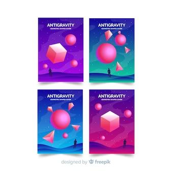 Set folletos polígono 3d colorido flotando