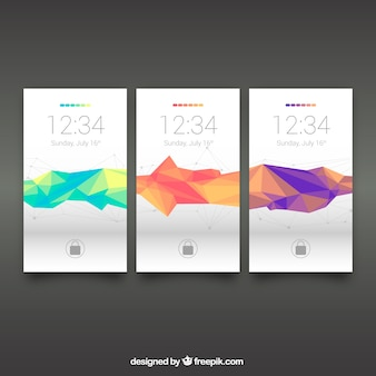 Set de fondos poligonales de móvil