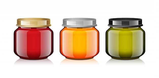 Set de frascos de vidrio mock up para miel, mermelada, gelatina o puré de comida para bebés