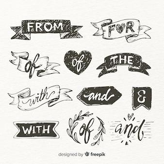 Set de frases dibujados para boda