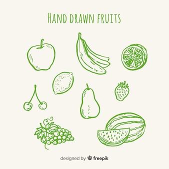 Set frutas y verduras sin color dibujadas a mano