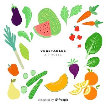 Set frutas y verduras planas