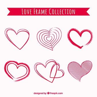 Set de garabatos de corazones