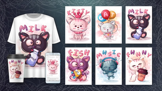 Set gato feliz - póster y merchandising