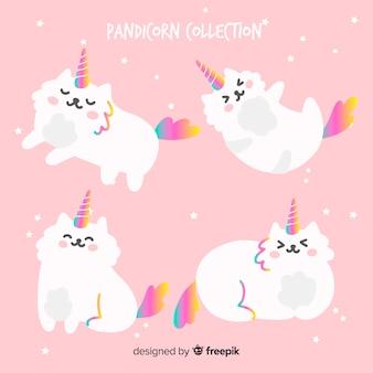 Set de gatos en estilo kawaii con apariencia de unicornio