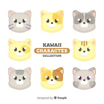 Set de gatos en estilo kawaii