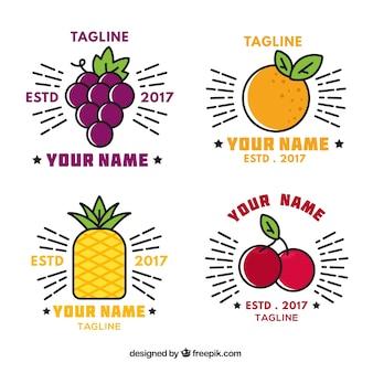 Set de geniales logos con frutas planas decorativas