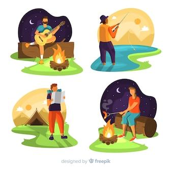 Set de gente acampando en la naturaleza