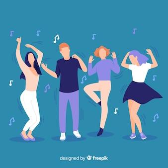 Set gente dibujada a mano bailando