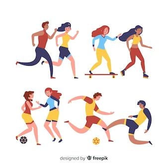 Set de gente haciendo deporte
