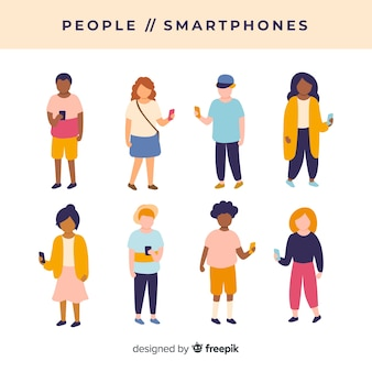 Set gente joven dibujada a mano usando el smartphone
