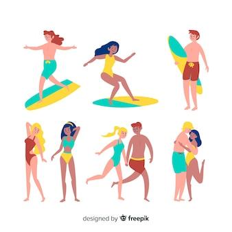 Set de gente en la playa
