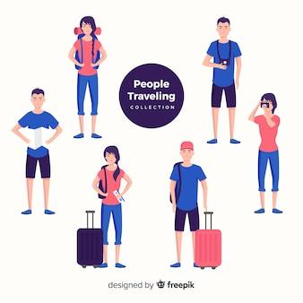 Set gente viajando dibujada a mano