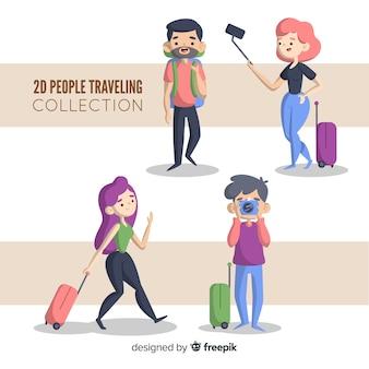Set gente viajando dibujos animados