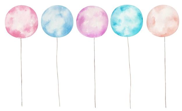 Set de globos, ilustración acuarela