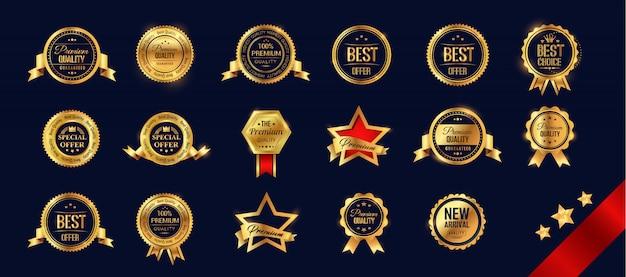 Set golden metal badges
