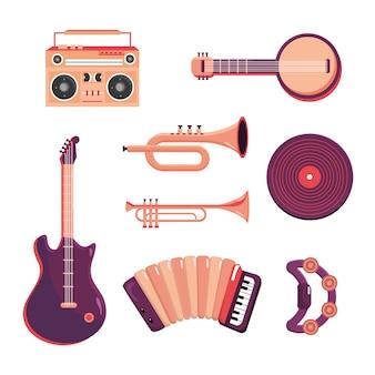 Set grabadora de música con instrumentos profesionales.