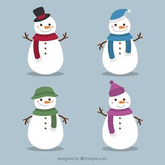 Set de graciosos muñecos de nieve con bufanda y gorro