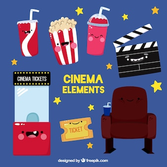 Set de graciosos objetos de cine animados