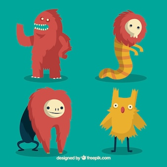 Set de graciosos personajes de monstruos