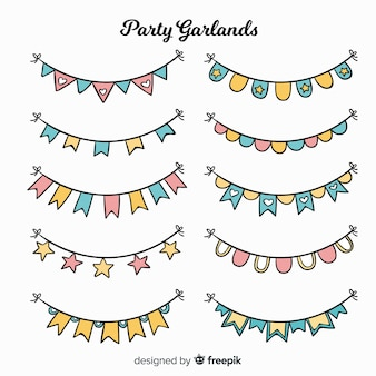 Set guirnaldas fiesta dibujada a mano