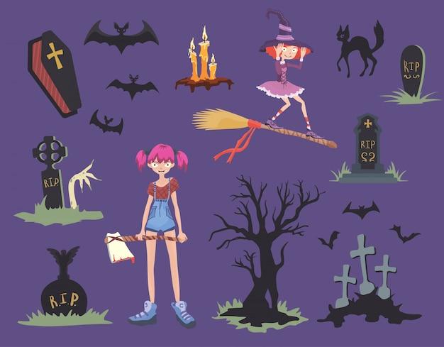 Set de halloween chica con hacha, gato negro, bruja en una escoba, lápidas y otros símbolos de halloween.