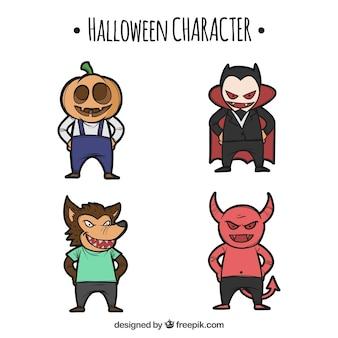 Set de halloween de personajes dibujados a mano