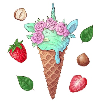 Set de helado de fresa con nueces.