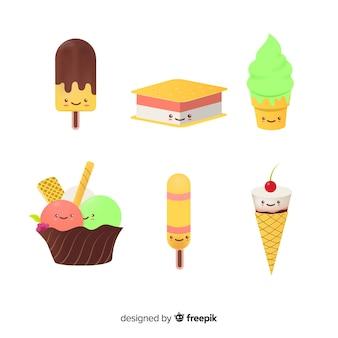 Set de helados en estilo kawaii