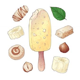 Set helados plátano caramelo chocolate nueces