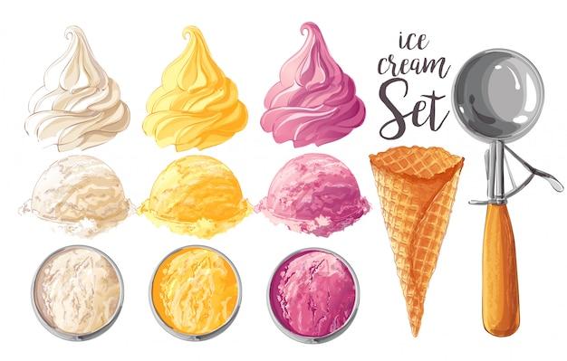 Set de helados vectoriales
