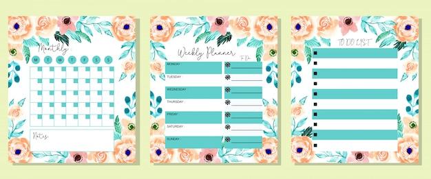 Set hermosa mensual semanal y para hacer lista planificador flor acuarela
