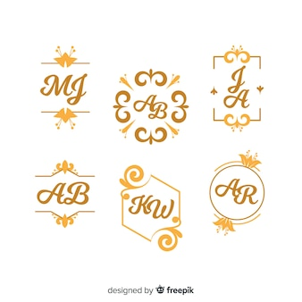 Set de hermosos y elegantes logos o logotipos para bodas o floristerías
