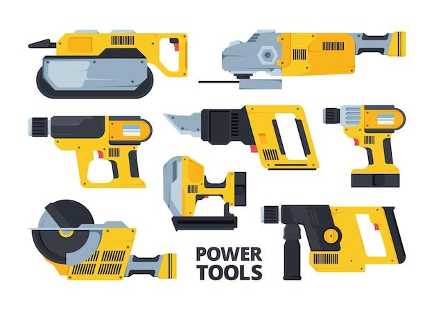 Set de herramientas eléctricas modernas amarillas planas. lijadora de banda, sierra circular, taladro. paquete de hardware de reparación. martillo perforador. colección de equipos eléctricos inalámbricos